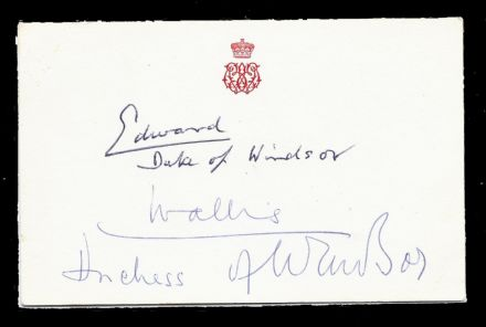 Edward Duke of Windsor & Wallis Duchess of Windsor Signed & Embossed Card formerly King Edward VIII